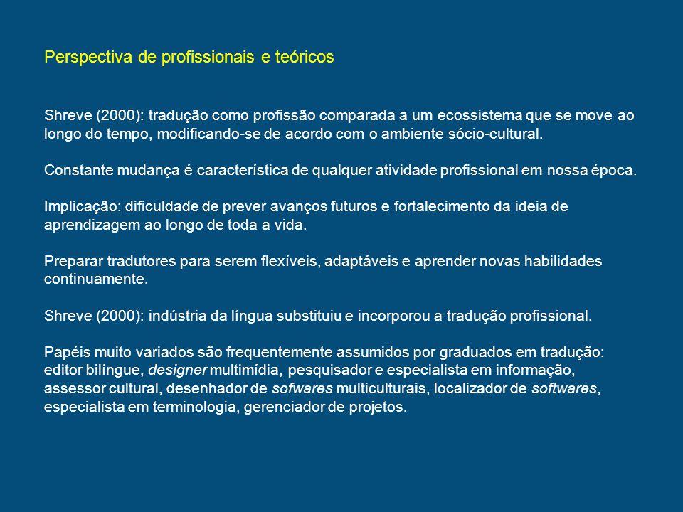 Perspectiva de profissionais e teóricos