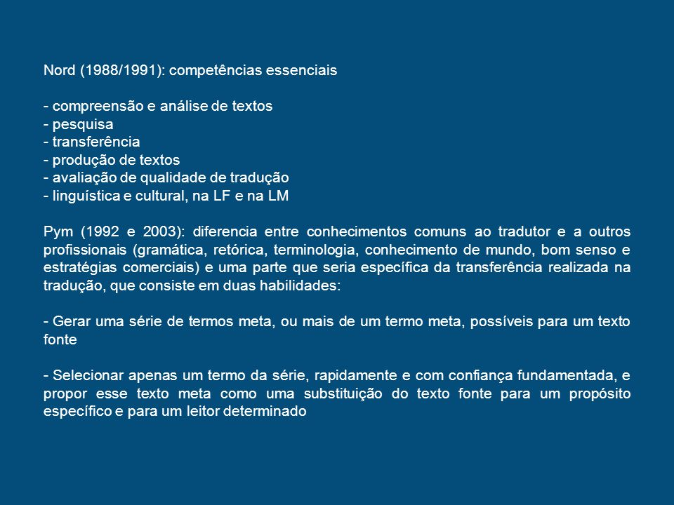 Nord (1988/1991): competências essenciais