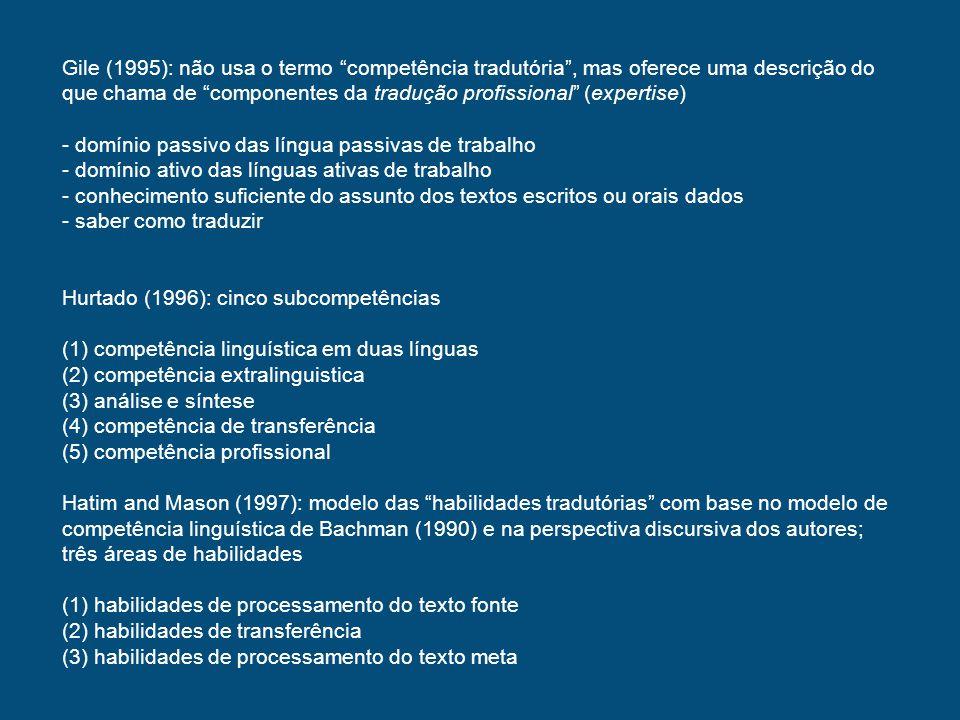 Gile (1995): não usa o termo competência tradutória , mas oferece uma descrição do que chama de componentes da tradução profissional (expertise)