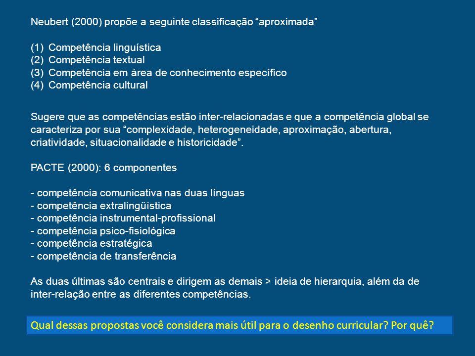 Neubert (2000) propõe a seguinte classificação aproximada