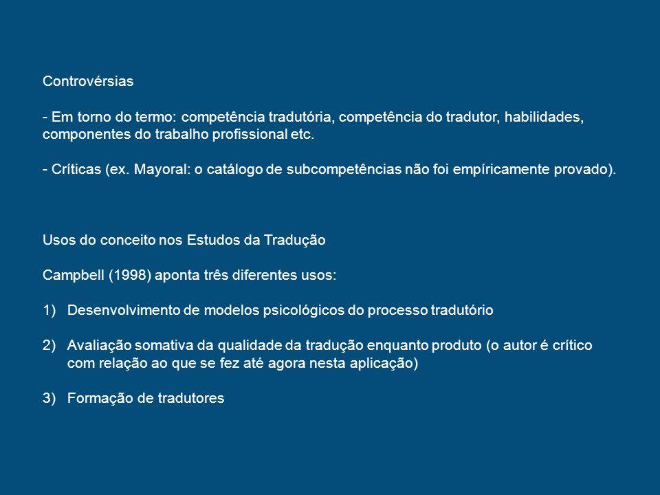 Controvérsias Em torno do termo: competência tradutória, competência do tradutor, habilidades, componentes do trabalho profissional etc.