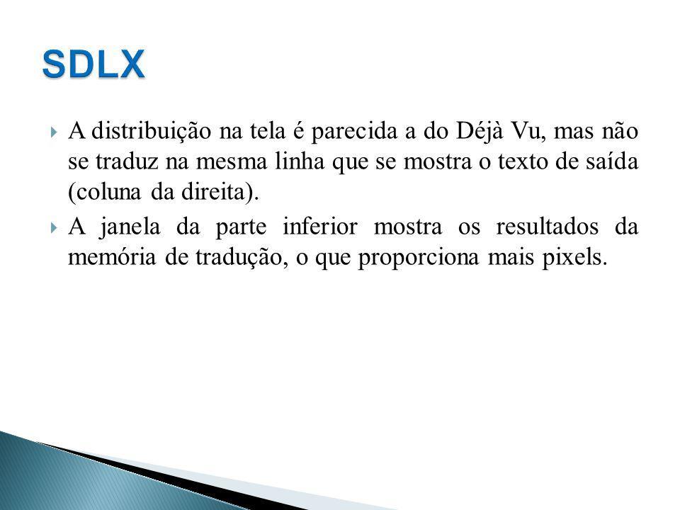SDLX A distribuição na tela é parecida a do Déjà Vu, mas não se traduz na mesma linha que se mostra o texto de saída (coluna da direita).