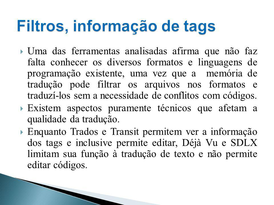 Filtros, informação de tags