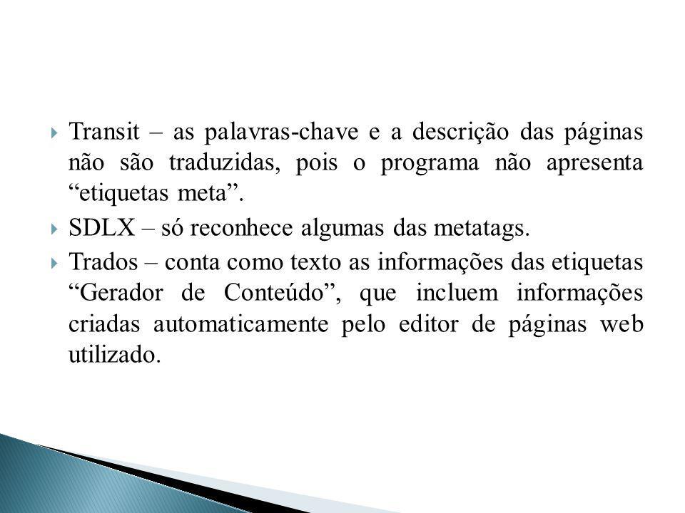 Transit – as palavras-chave e a descrição das páginas não são traduzidas, pois o programa não apresenta etiquetas meta .