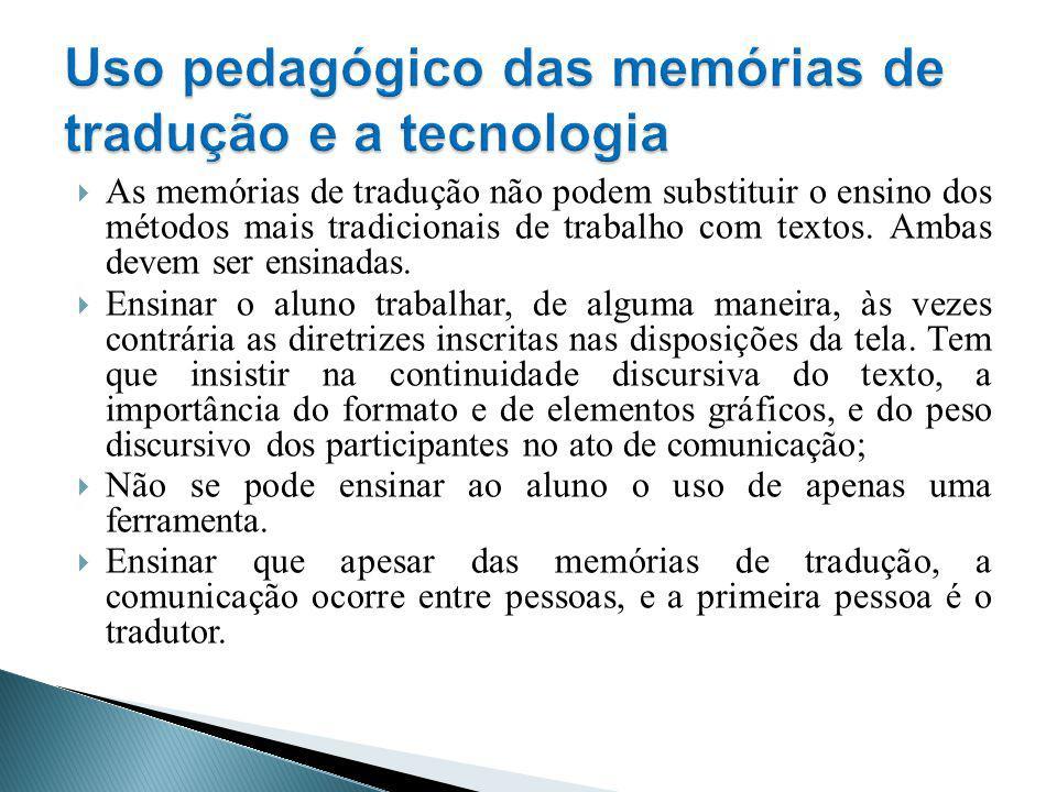 Uso pedagógico das memórias de tradução e a tecnologia