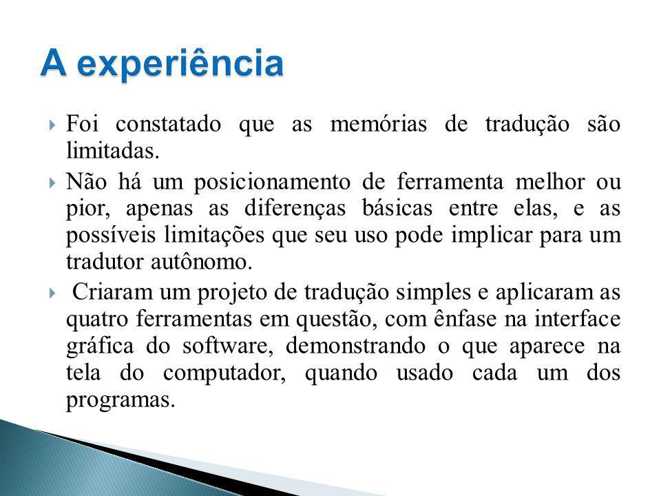 A experiência Foi constatado que as memórias de tradução são limitadas.
