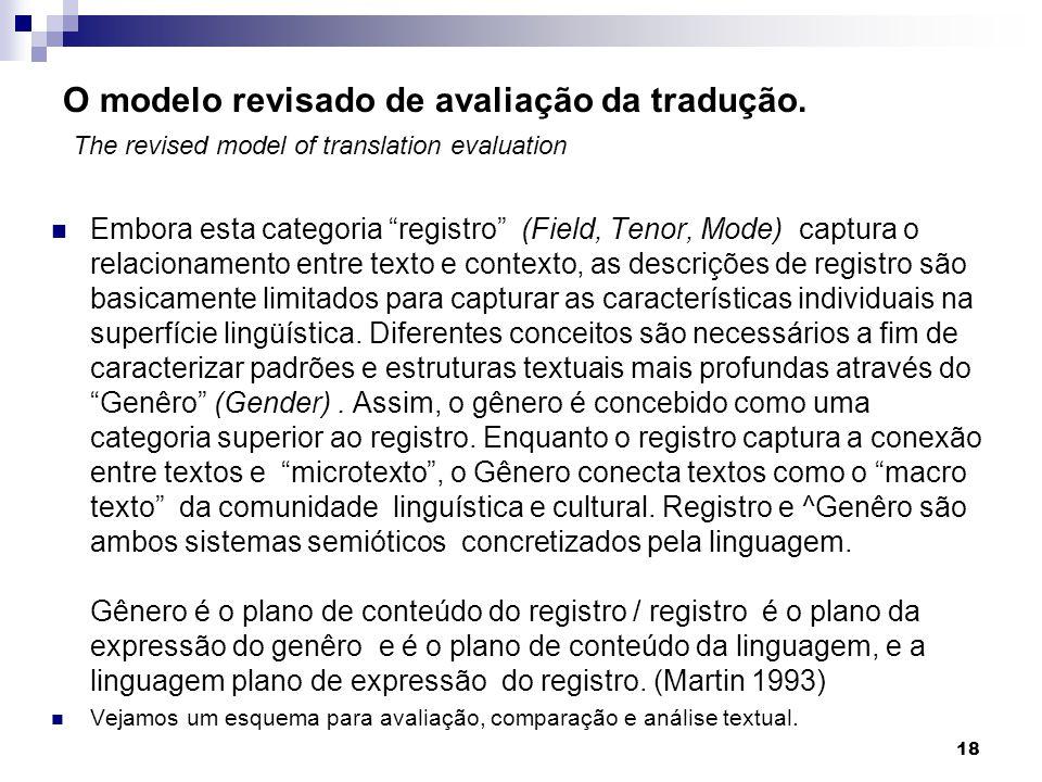 O modelo revisado de avaliação da tradução