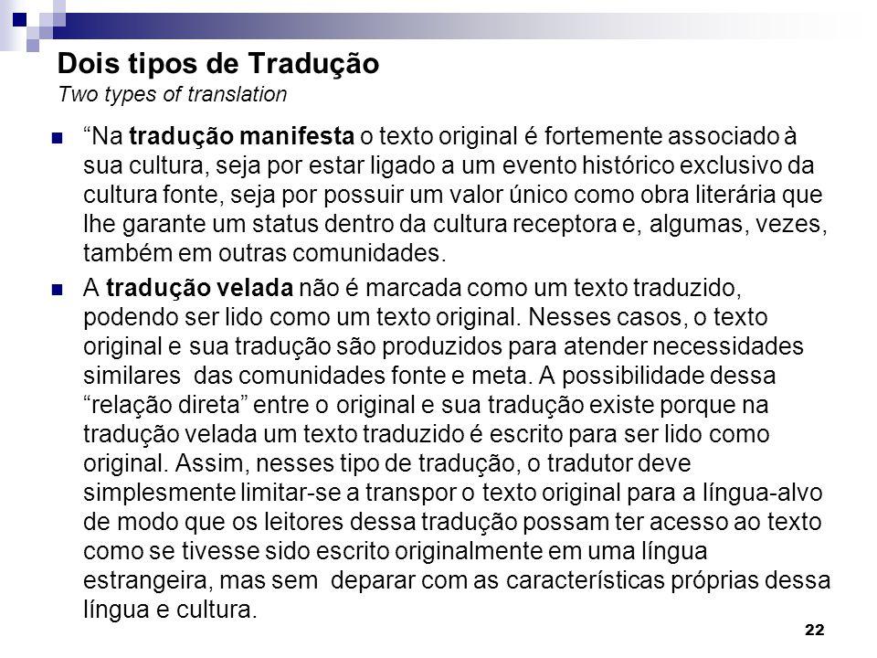 Dois tipos de Tradução Two types of translation