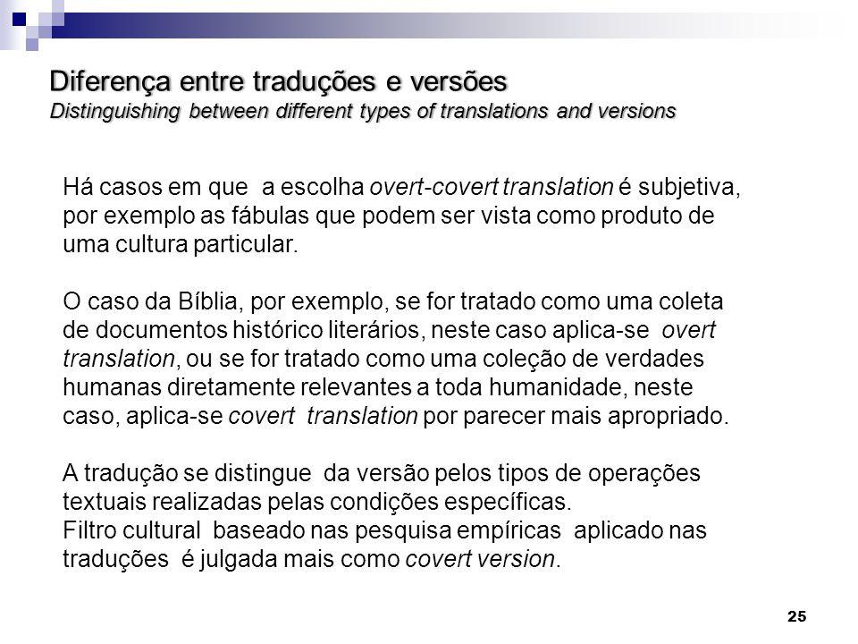 Diferença entre traduções e versões Distinguishing between different types of translations and versions