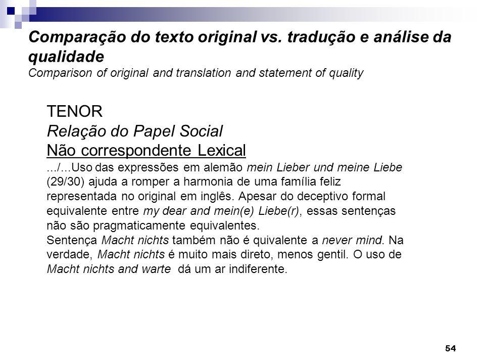 Relação do Papel Social Não correspondente Lexical