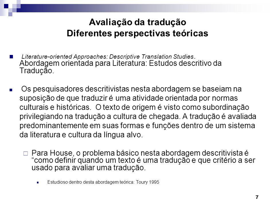 Avaliação da tradução Diferentes perspectivas teóricas