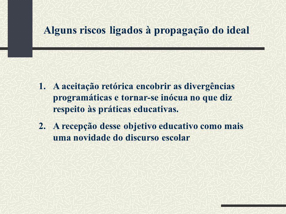 Alguns riscos ligados à propagação do ideal