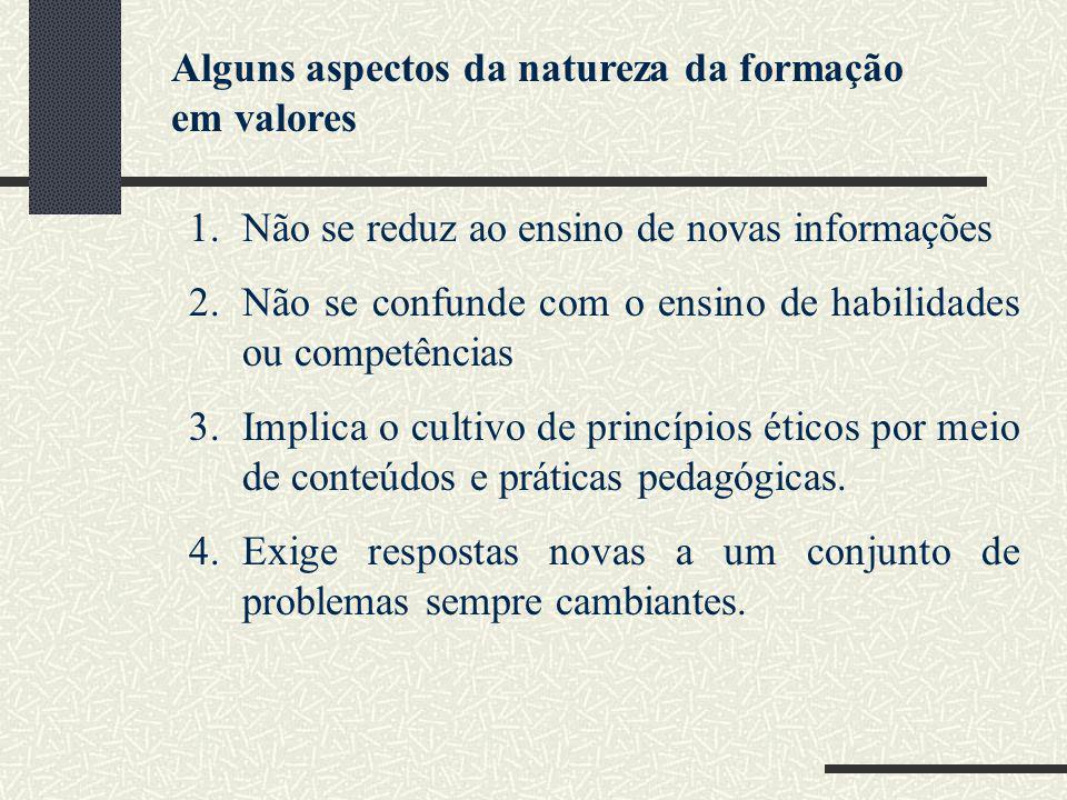 Alguns aspectos da natureza da formação em valores