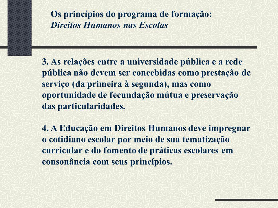 Os princípios do programa de formação: