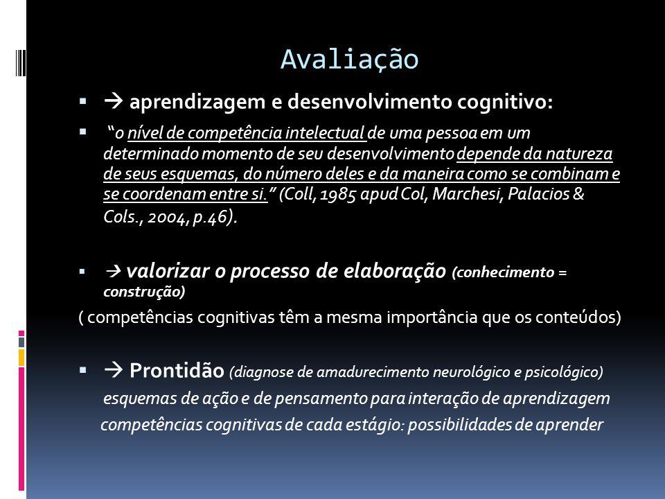 Avaliação  aprendizagem e desenvolvimento cognitivo: