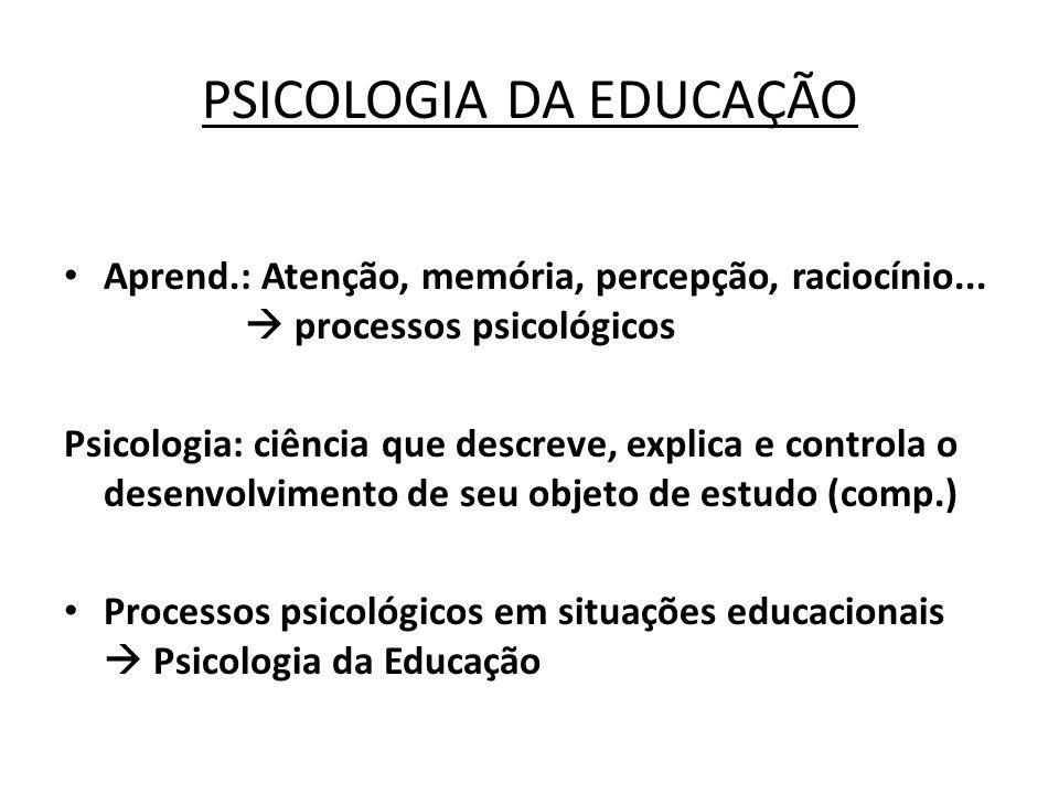 PSICOLOGIA DA EDUCAÇÃO