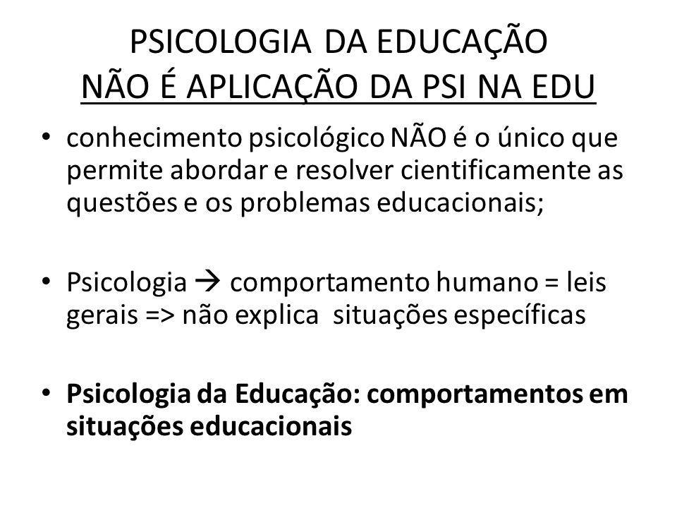 PSICOLOGIA DA EDUCAÇÃO NÃO É APLICAÇÃO DA PSI NA EDU