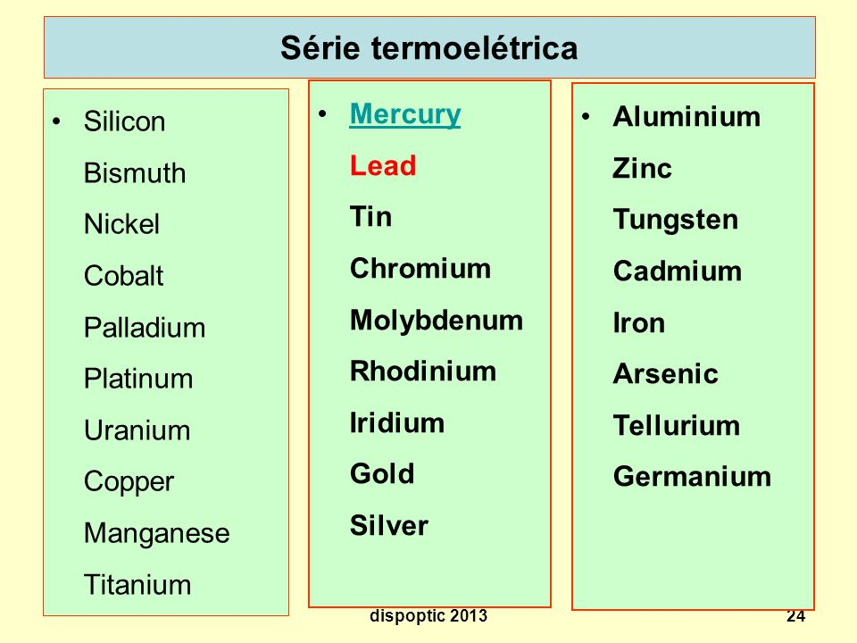 Série termoelétrica Mercury Lead Tin Chromium Molybdenum Rhodinium Iridium Gold Silver.