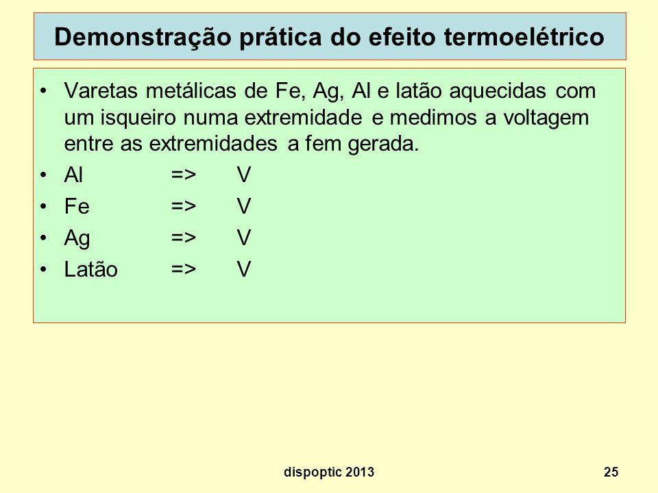 Demonstração prática do efeito termoelétrico
