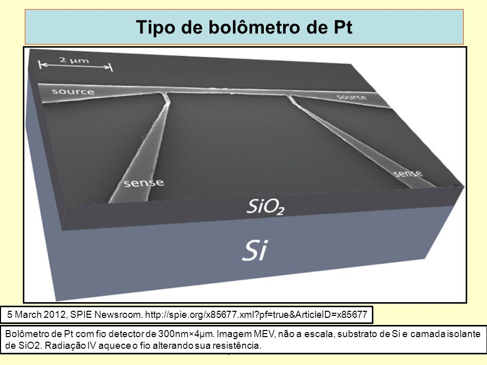 Tipo de bolômetro de Pt http://spie.org/x85677.xml pf=true&ArticleID=x85677. New infrared sensors are small, simple, and sensitive.
