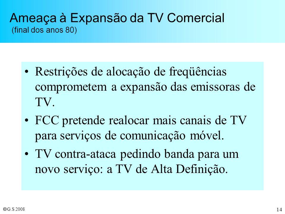 Ameaça à Expansão da TV Comercial (final dos anos 80)