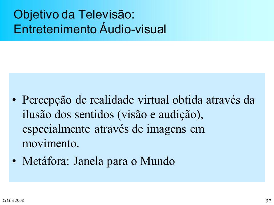 Objetivo da Televisão: Entretenimento Áudio-visual
