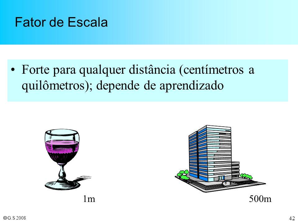 Fator de Escala Forte para qualquer distância (centímetros a quilômetros); depende de aprendizado. 1m.