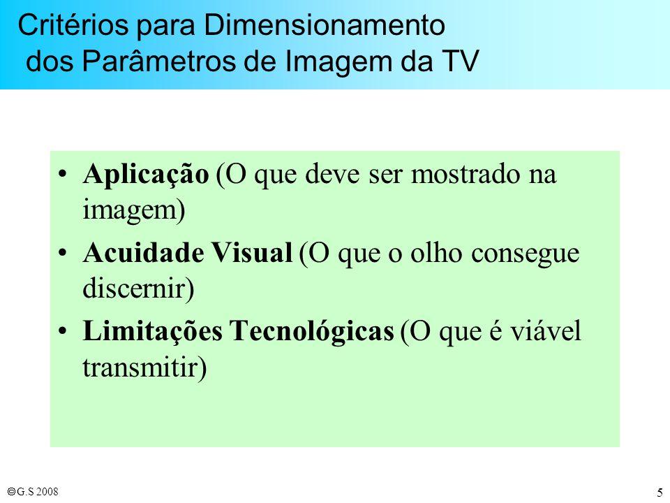 Critérios para Dimensionamento dos Parâmetros de Imagem da TV
