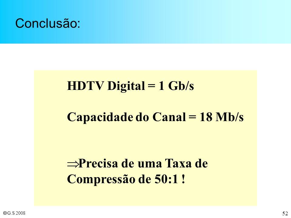 Conclusão: HDTV Digital = 1 Gb/s. Capacidade do Canal = 18 Mb/s.