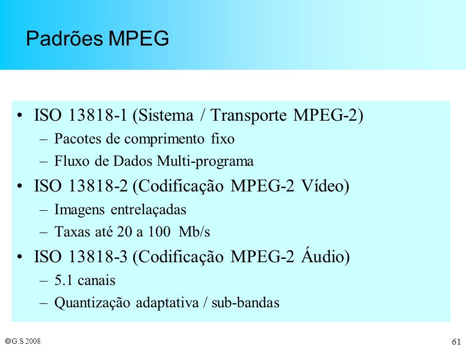 Padrões MPEG ISO 13818-1 (Sistema / Transporte MPEG-2)