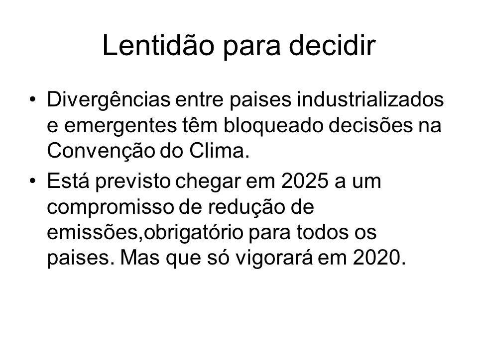 Lentidão para decidir Divergências entre paises industrializados e emergentes têm bloqueado decisões na Convenção do Clima.