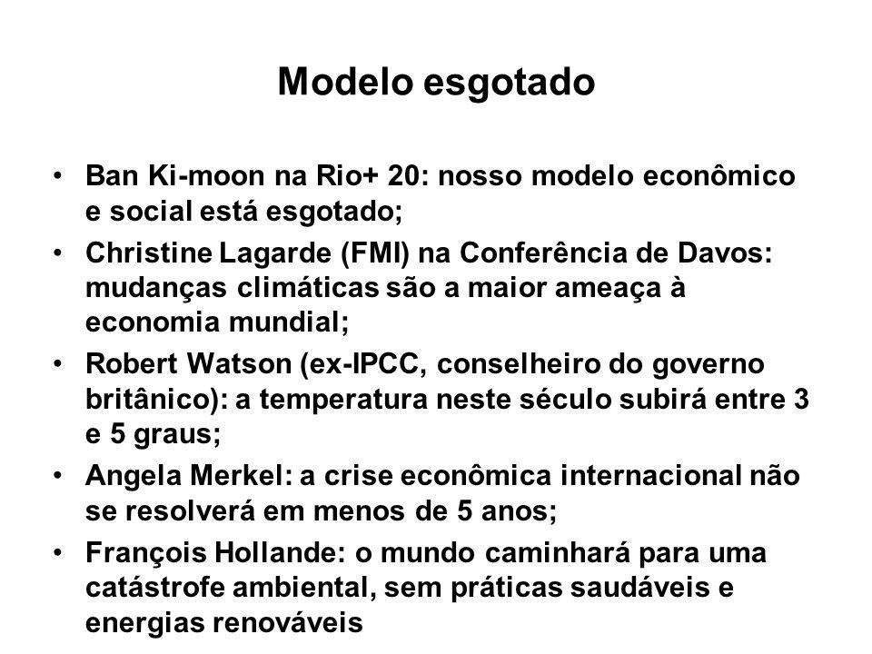 Modelo esgotado Ban Ki-moon na Rio+ 20: nosso modelo econômico e social está esgotado;