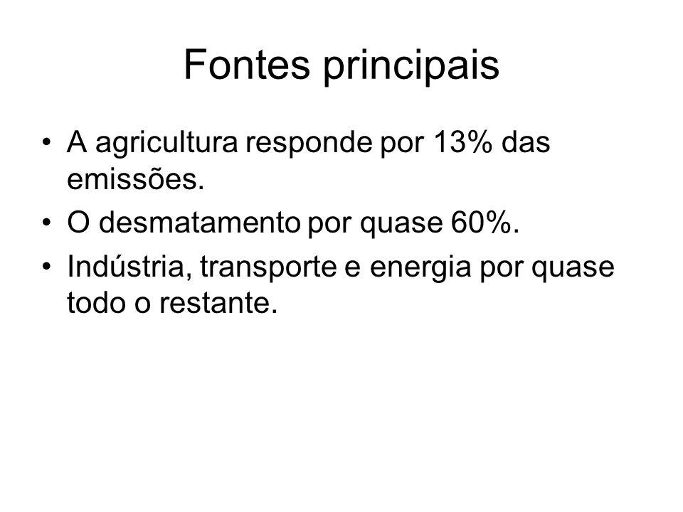 Fontes principais A agricultura responde por 13% das emissões.