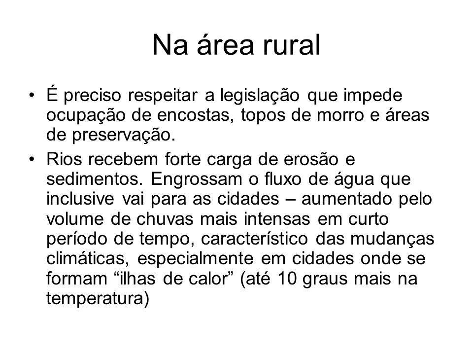 Na área rural É preciso respeitar a legislação que impede ocupação de encostas, topos de morro e áreas de preservação.