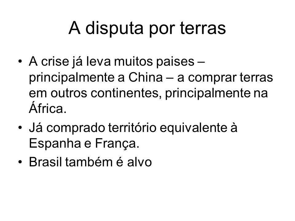 A disputa por terras A crise já leva muitos paises – principalmente a China – a comprar terras em outros continentes, principalmente na África.