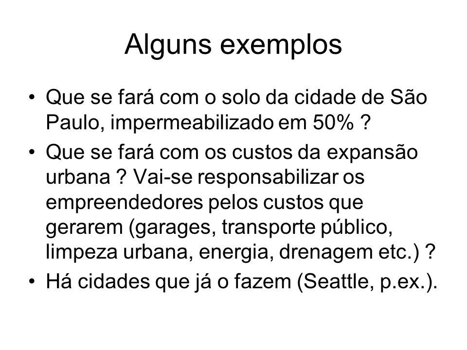 Alguns exemplos Que se fará com o solo da cidade de São Paulo, impermeabilizado em 50%
