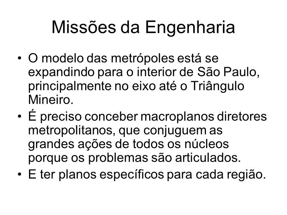 Missões da Engenharia O modelo das metrópoles está se expandindo para o interior de São Paulo, principalmente no eixo até o Triângulo Mineiro.