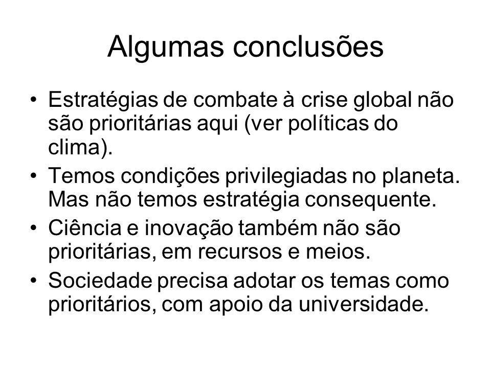 Algumas conclusões Estratégias de combate à crise global não são prioritárias aqui (ver políticas do clima).