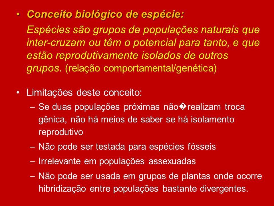 Conceito biológico de espécie: