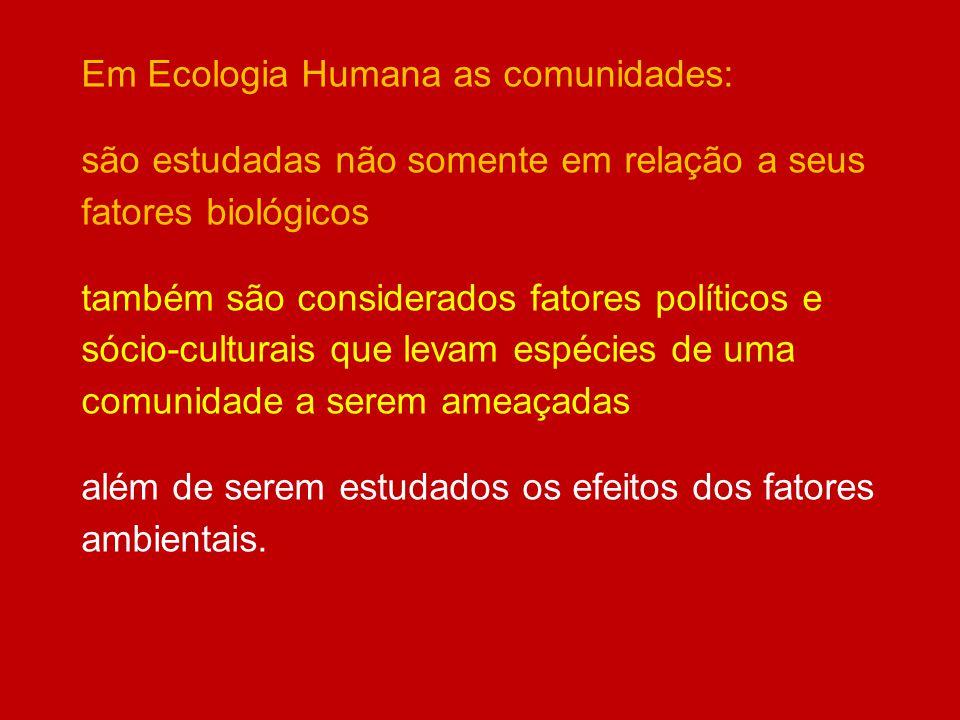 Em Ecologia Humana as comunidades: