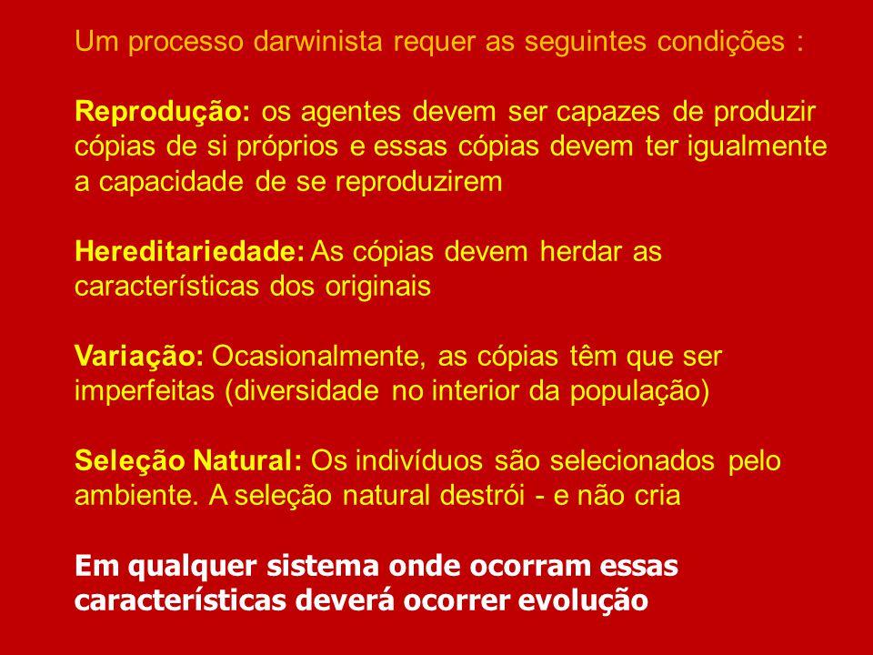 Um processo darwinista requer as seguintes condições :