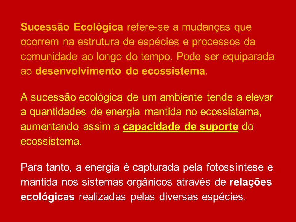 Sucessão Ecológica refere-se a mudanças que ocorrem na estrutura de espécies e processos da comunidade ao longo do tempo. Pode ser equiparada ao desenvolvimento do ecossistema.