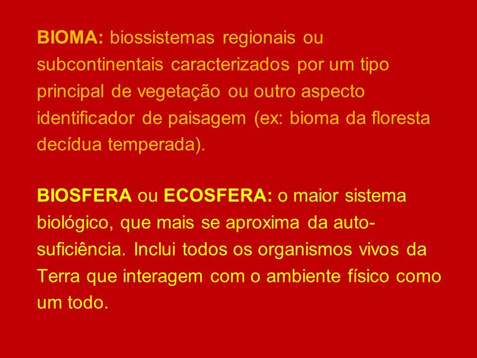 BIOMA: biossistemas regionais ou subcontinentais caracterizados por um tipo principal de vegetação ou outro aspecto identificador de paisagem (ex: bioma da floresta decídua temperada).