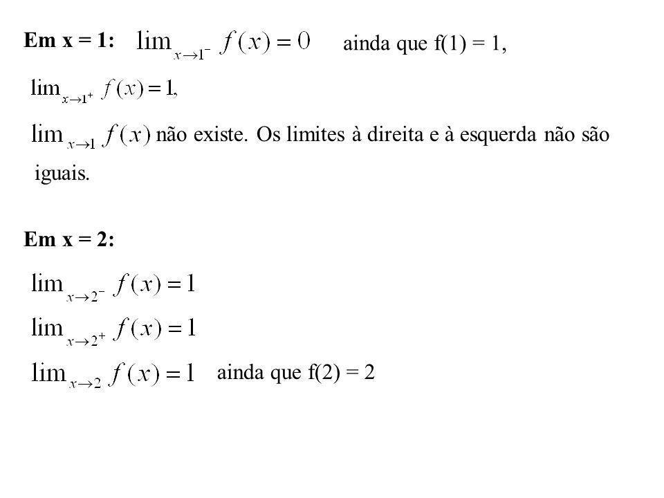 Em x = 1: ainda que f(1) = 1, não existe. Os limites à direita e à esquerda não são. iguais. Em x = 2: