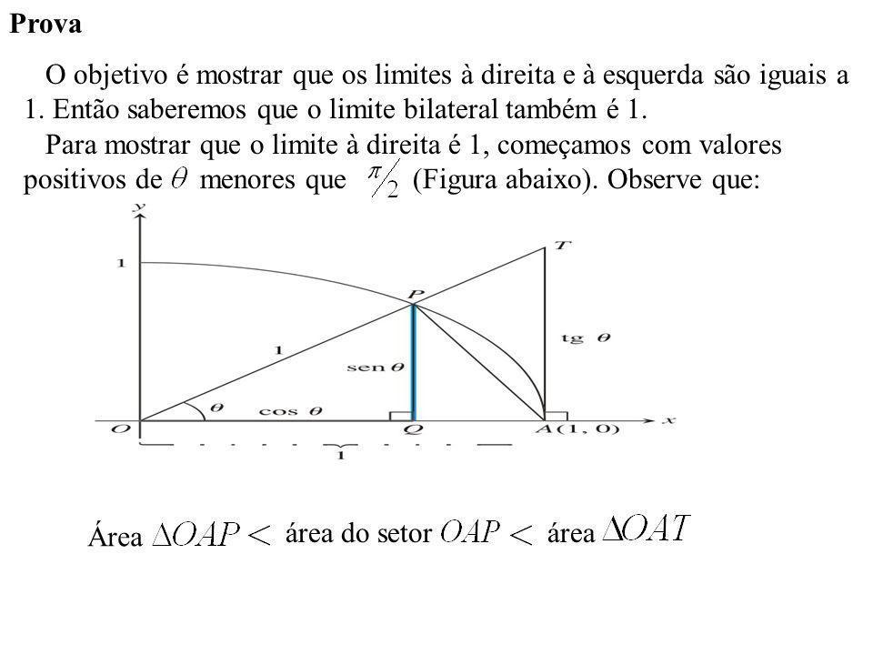 Prova O objetivo é mostrar que os limites à direita e à esquerda são iguais a 1. Então saberemos que o limite bilateral também é 1.