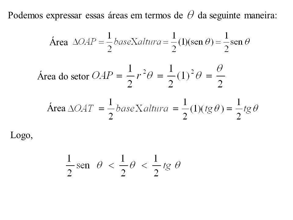 Podemos expressar essas áreas em termos de da seguinte maneira: