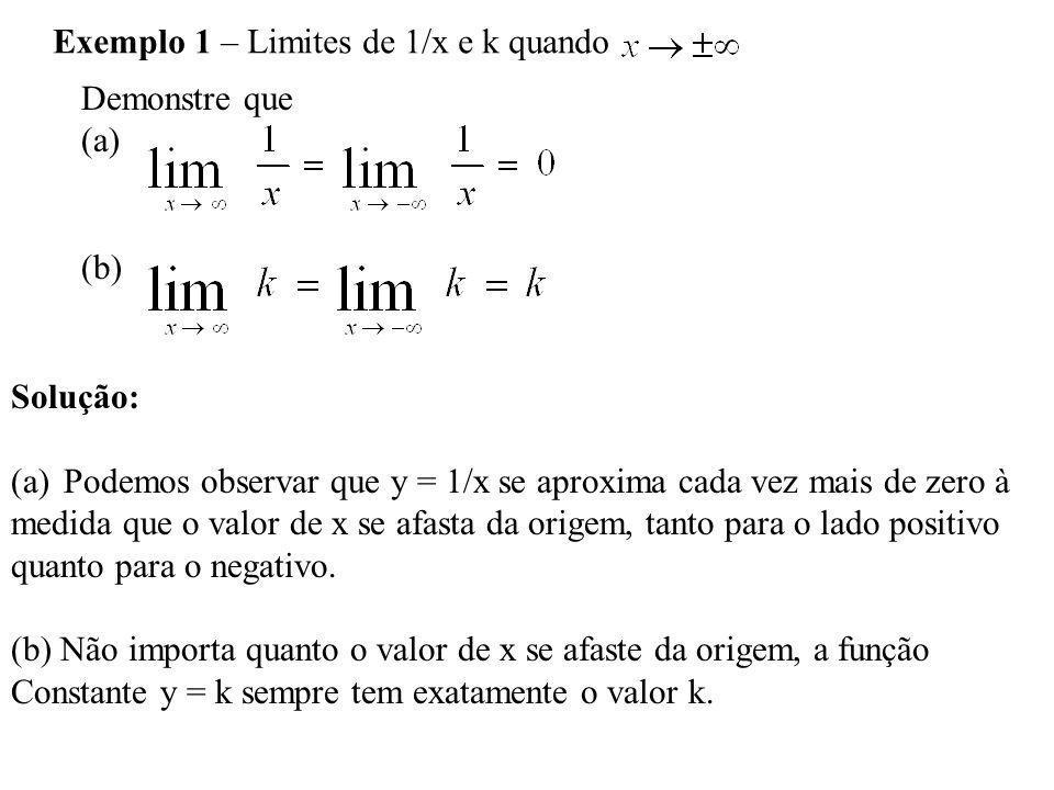 Exemplo 1 – Limites de 1/x e k quando