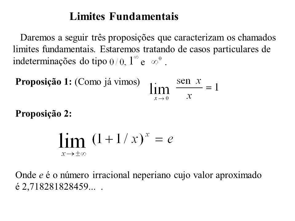 Limites Fundamentais Daremos a seguir três proposições que caracterizam os chamados.