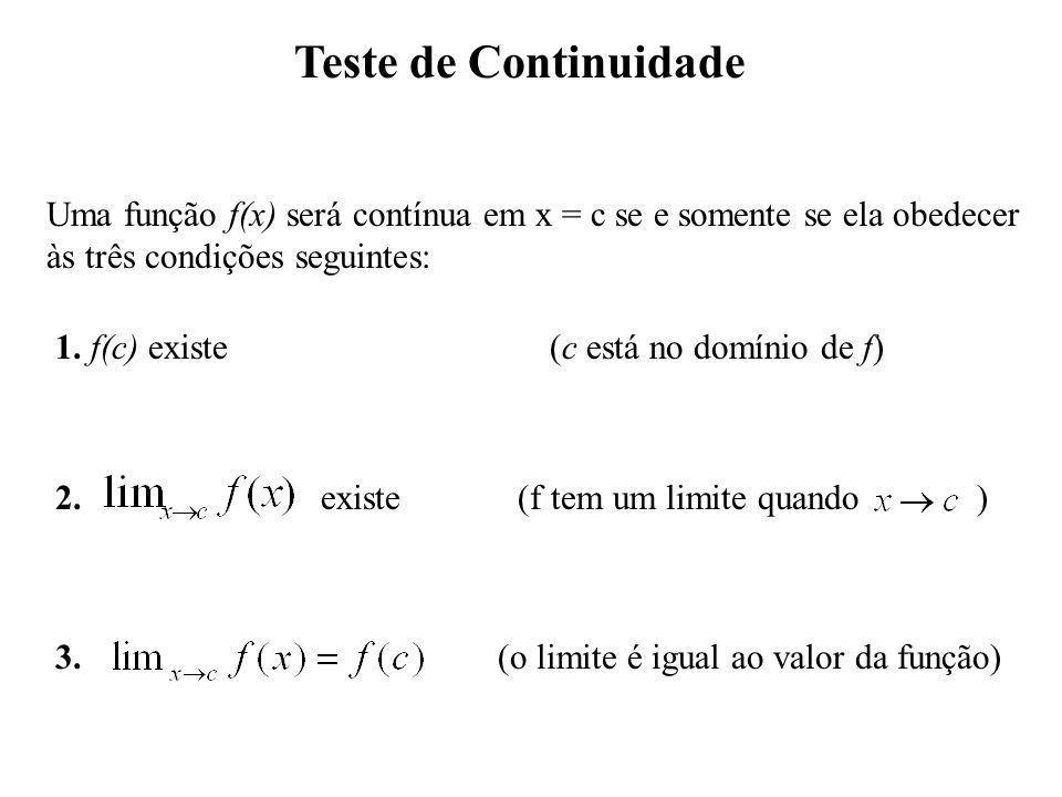 Teste de Continuidade Uma função f(x) será contínua em x = c se e somente se ela obedecer. às três condições seguintes: