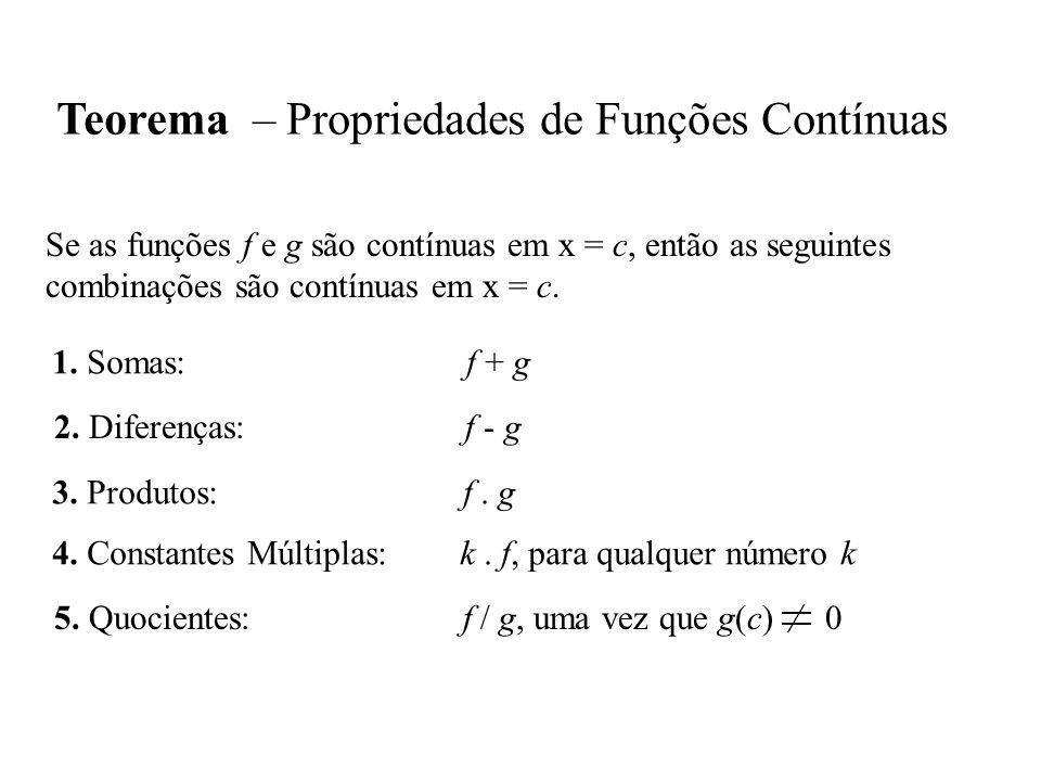 Teorema – Propriedades de Funções Contínuas